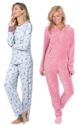 Models wearing Feather Touch Pajamas and Hoodie-Footie - Pink.