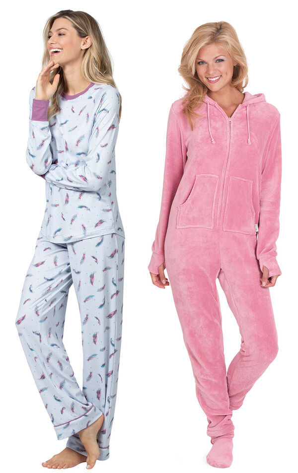 Models wearing Feather Touch Pajamas and Hoodie-Footie - Pink. image number 0