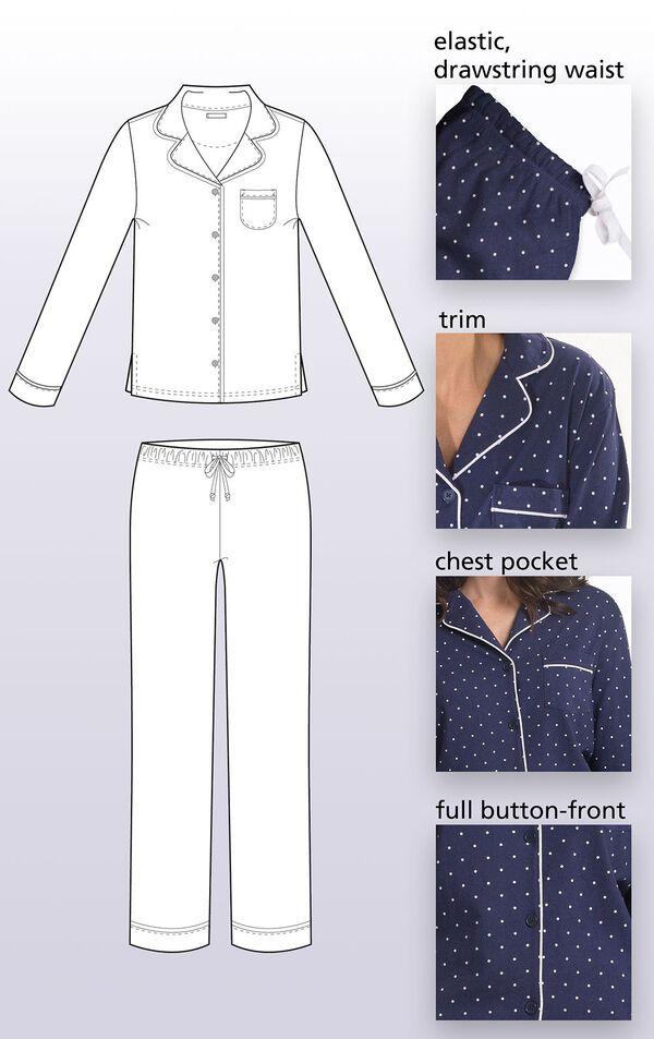 Classic Polka-Dot Women's Pajamas - Navy image number 3