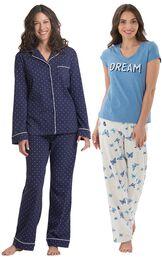 Models wearing Classic Polka-Dot Pajamas and Dream Pajamas. image number 0