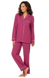 Classic Polka-Dot Boyfriend Pajamas - Fucshia image number 0
