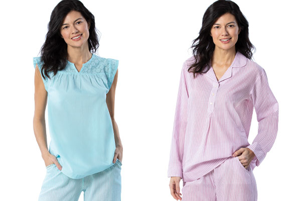 An image of 2 models wearing PajamaGram Addison Meadow Whisper Knit PJ in teal and PajamaGram Addison Meadow Whisper Knit Jogger PJs in fuchsia floral
