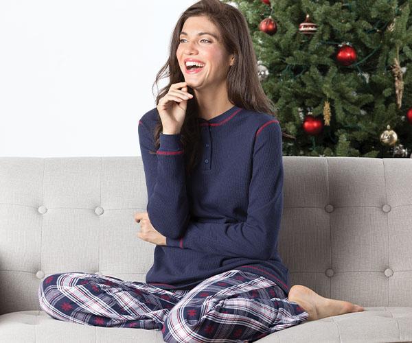 An image of a model wearing PajamaGram Snowfall Plaid Matching Family Pajamas