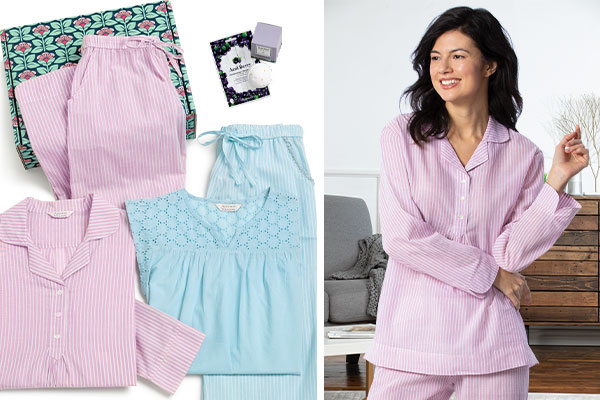 A collage of images including the Addison Meadow Pullover PJ in mauve stripe, one Addison Meadow Summer Capri Pajama in aqua stripe and one remedy bath bomb and a model wearing Addison Meadow Pullover PJs in mauve stripe