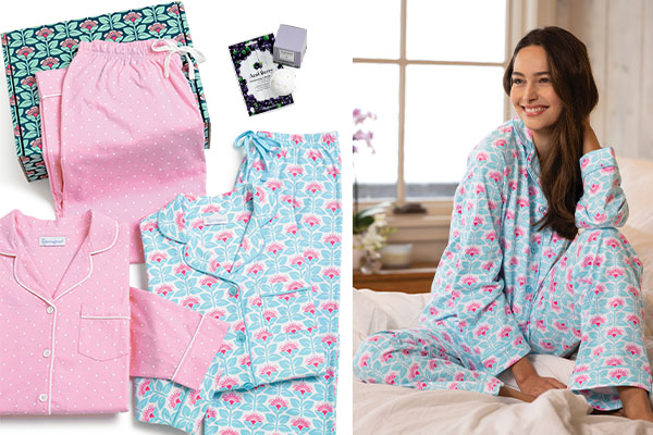 A collage of image including the Best-Selling Boyfriends Gift Box and a model wearing Modern Floral Boyfriend Pajamas