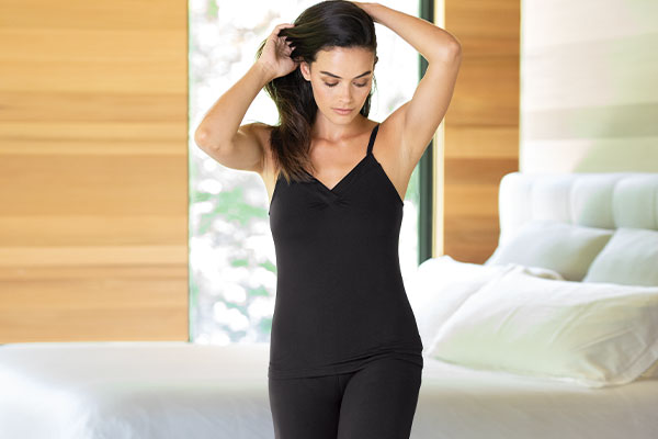 A model wearing PajamaGram Naturally Nude Cami Pajamas