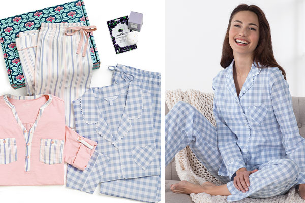 A collage of images including the Spring Dreams Gift Box and a model wearing Heart2Heart Pajamas in periwinkle