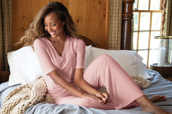 A model wearing PajamaGram Naturally Nude Pajamas