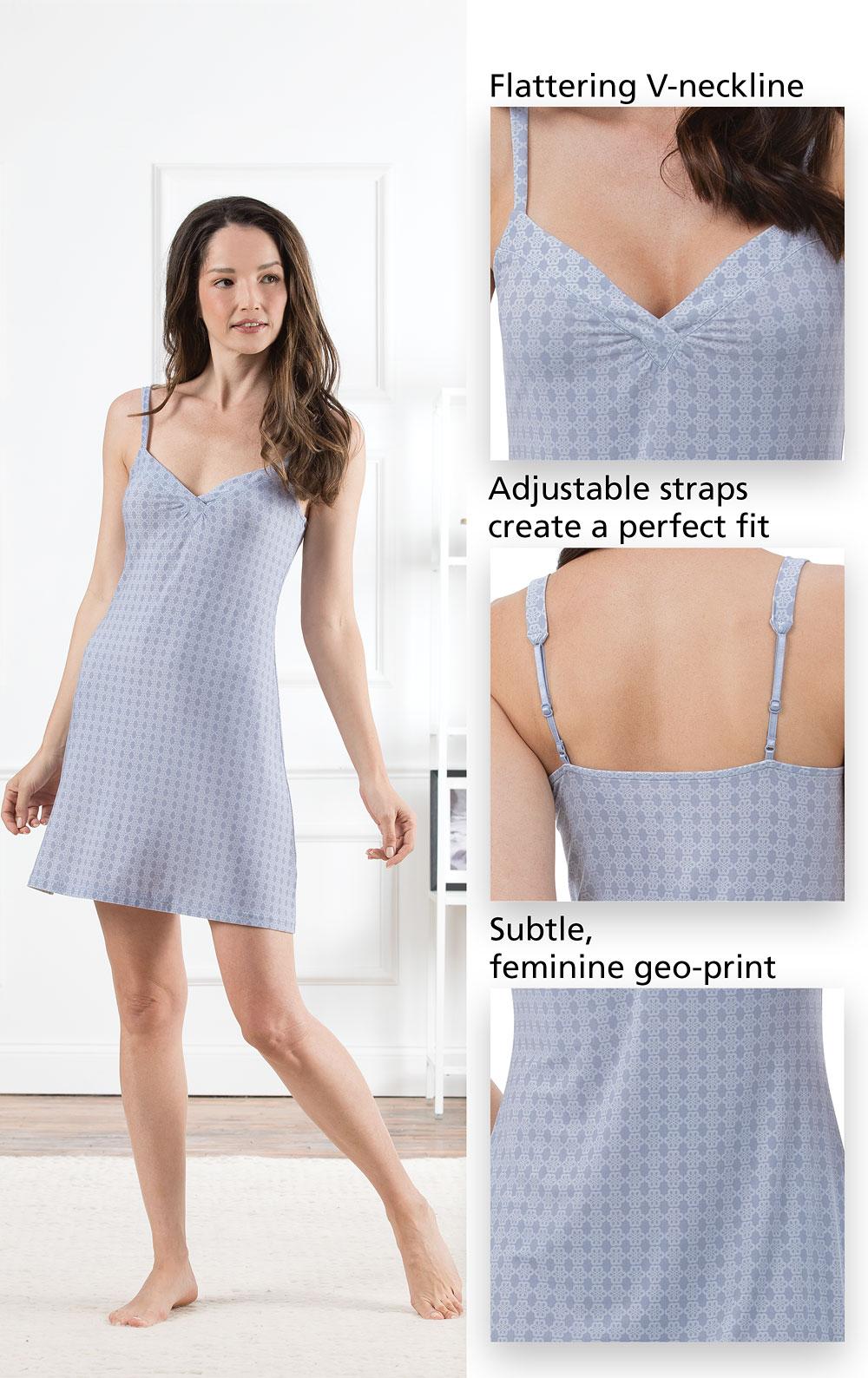 Naturally Nude Chemise - Blue in Naturally Nude Pajamas