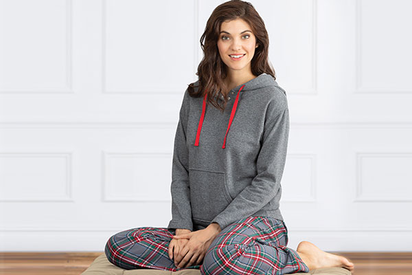 An image of a model wearing PajamaGram Gray Plaid Matching Family Pajamas