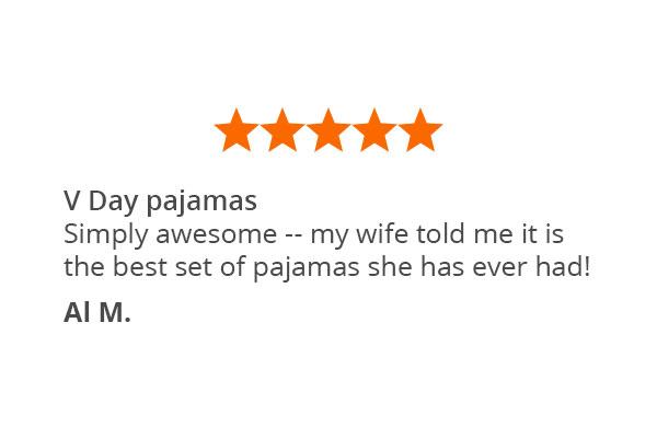 A customer quote about Pajamagram Valentine's Day Plaid pajamas