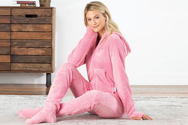 A model wearing PajamaGram Hoodie-Footie Pink Pajamas