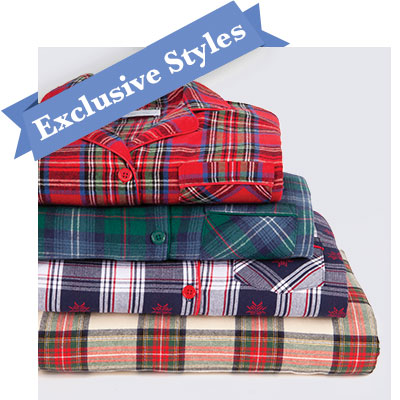 An image of 4 pajama sets stacked vertically
