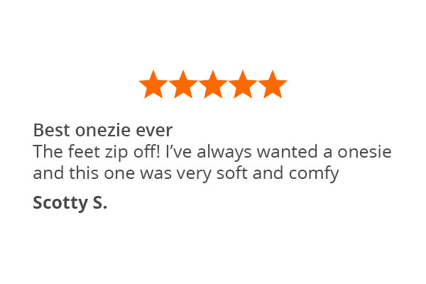 A customer quote about PajamaGram Hoodie-Footie Nordic Fleece Pajamas