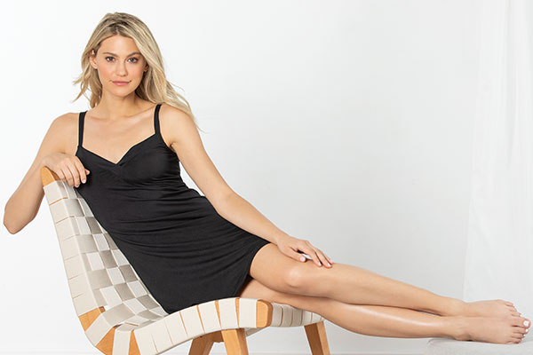 Naturally Nude Chemise - Solid Black in Naturally Nude