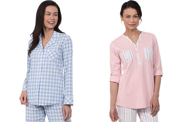 An image of 2 models wearing PajamaGram Heart2Heart Pajamas in periwinkle and PajamaGram Soft Stripe Henley PJs