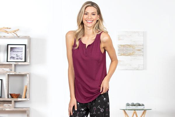 A model wearing pajamaGram Wine Down pajamas