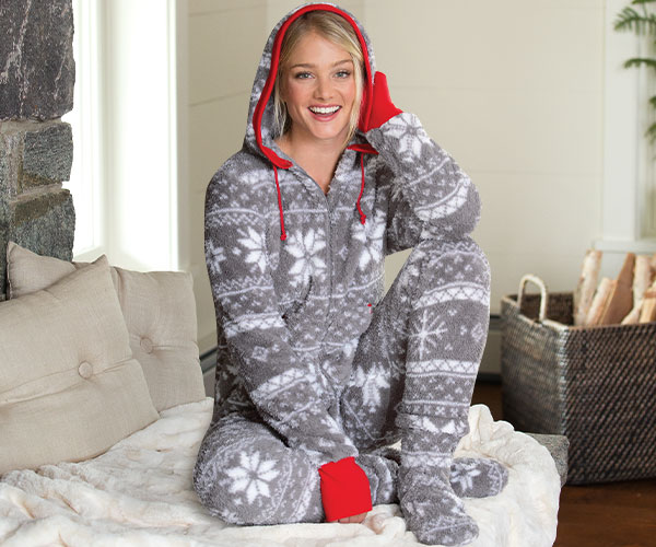 A model wearing PajamaGram Hoodie-Footie Nordic Fleece Pajamas