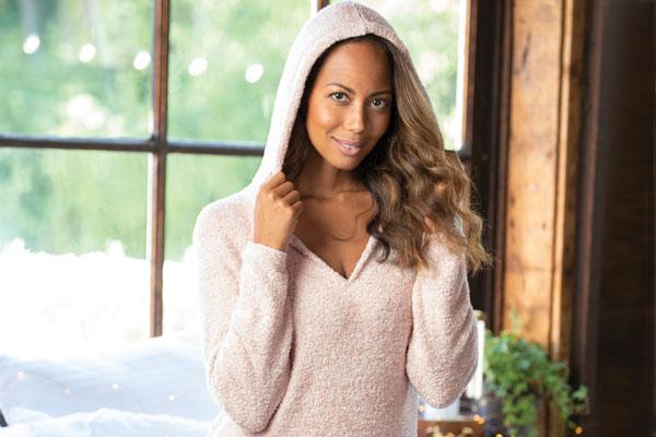 A model wearing PajamaGram Cozy Escape Pajamas