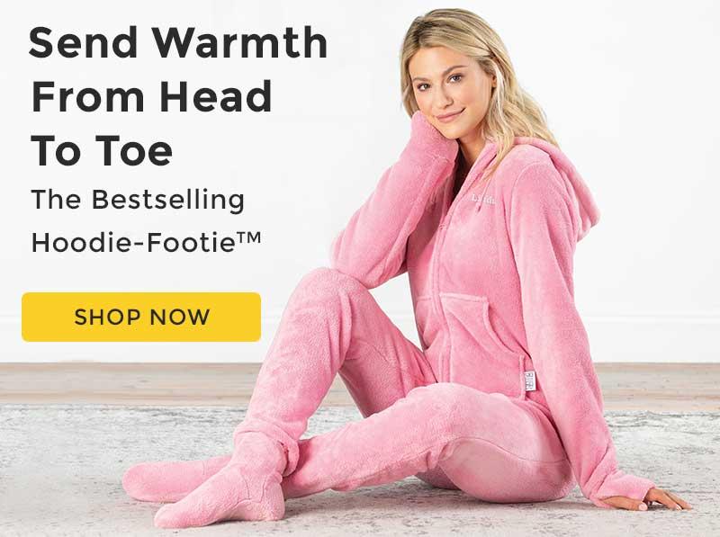 A model wearing PajamaGrams Pink Hoodie-Footie