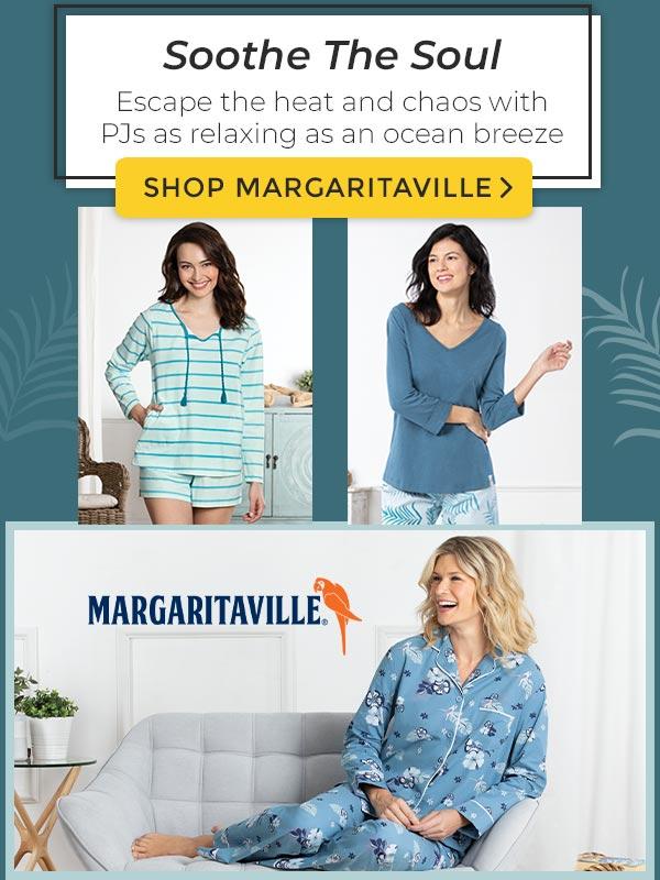 An image 3 models wearing PajamaGram Margaritaville pajamas