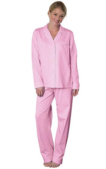 An image of a model wearing pajamagram Classic Polka-Dot Boyfriend Pajamas - Pink