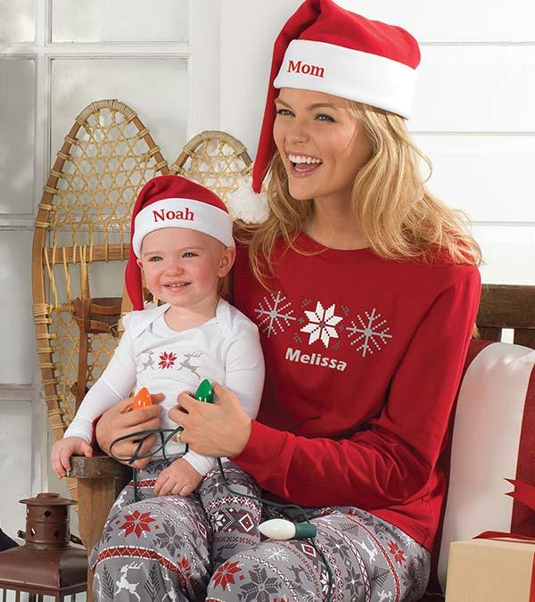 Image of a model and child wearing PajamaGram Nordic pajamas