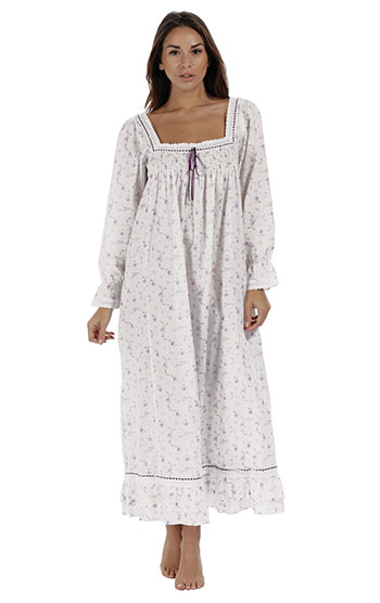 An image of a model wearing pajamagram Martha Nightgown - Lilac Rose