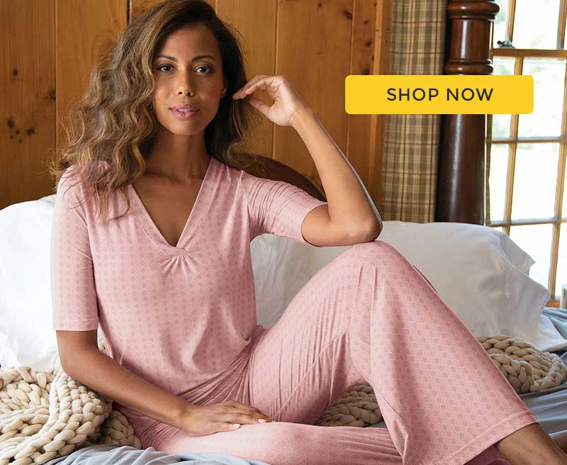A model wearing PajamGram Naturally Nude Pajamas in Pink