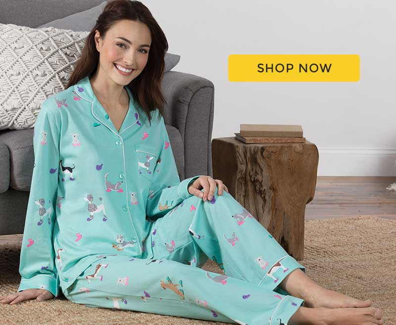 A model wearing our Green Doggy Dreams Boyfriend Pajamas