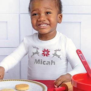 Image of a child wearing PajamaGram Nordic pajamas