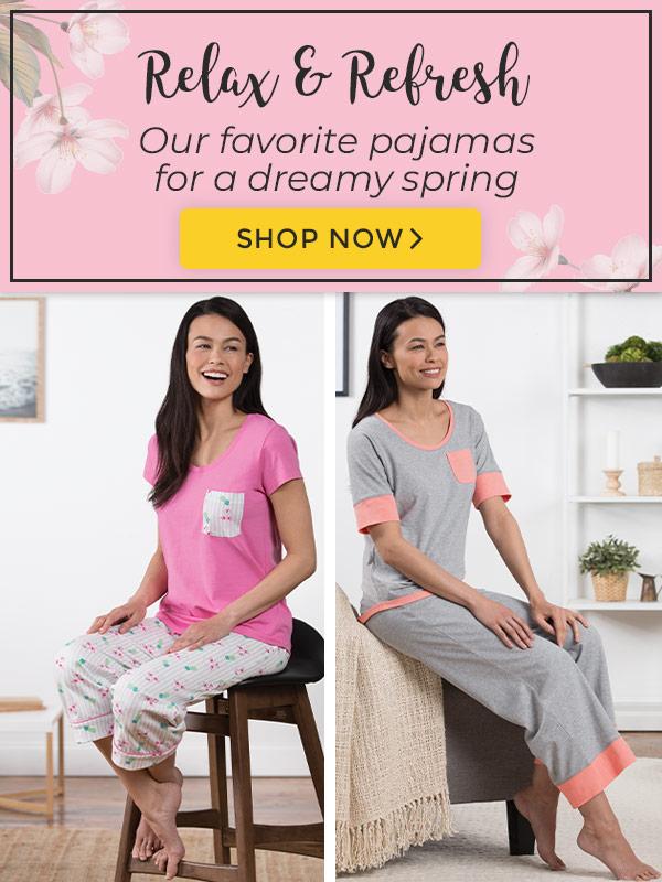 An image of one woman wearing PajamaGram Flamingo Capri pajamas and another model wearing Cozy Capri pajamas