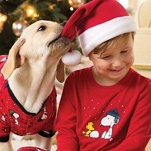 Image of 2 children wearing PajamaGram Red Dropseat pajamas