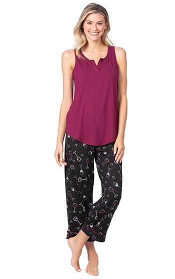 An image of a model wearing pajamagram Wine Down Tank Capri Pajamas