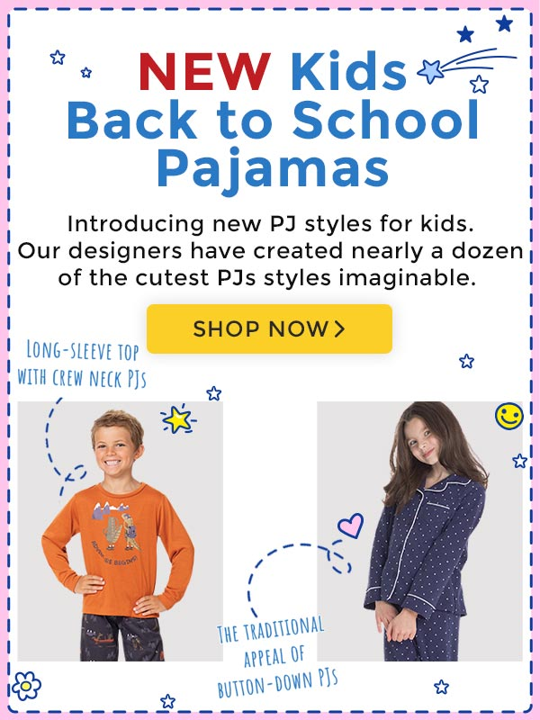 An image of a two kids in long sleeve and boyfriend matching PajamaGram pajamas