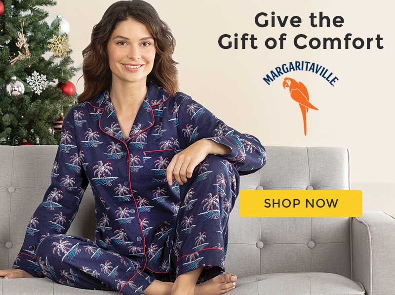 A model wearing PajamaGram Margaritaville Flannel Boyfriend pajamas