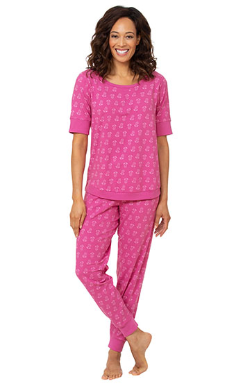 An image of a model wearing pajamagram Addison Meadow|PajamaGram Whisper Knit Joggers - Fuchsia Floral