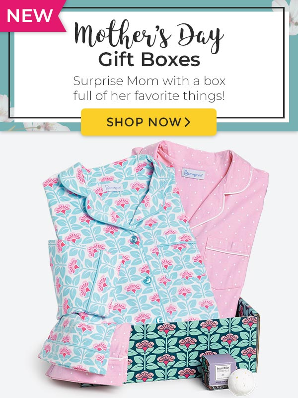 An image of PajamaGram Premium Gift Box examples including: Best-Selling Boyfriends Gift Box, Cool Capris Gift Box, and the Spring Dreams Gift Box