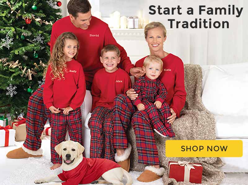 A photo of a family wearing PajamaGram Stewart Matching pajamas