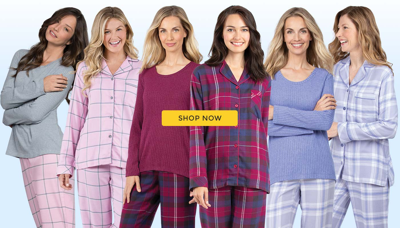 A group of models wearing the PajamaGram World's Softest Flannel line up of pajamas