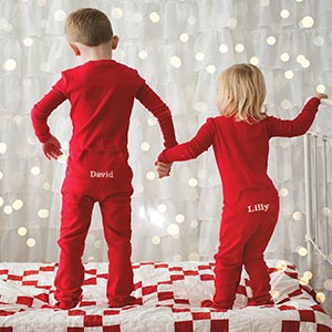 Image of 2 children wearing PajamaGram PajamaGram Snoopy pajamas