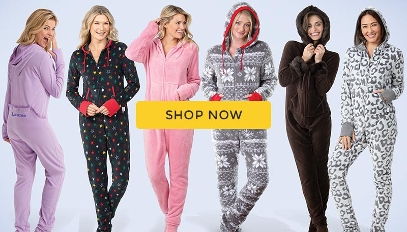 A group of models wearing the PajamaGram Hoodie-Footie line up of pajamas