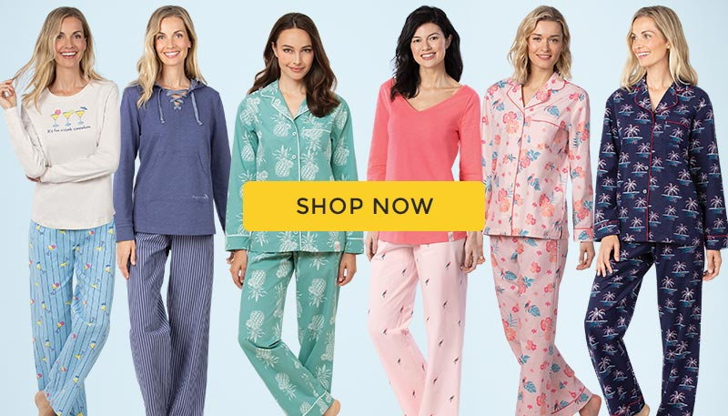 A group of models wearing the PajamaGram Margaritaville line up of pajamas