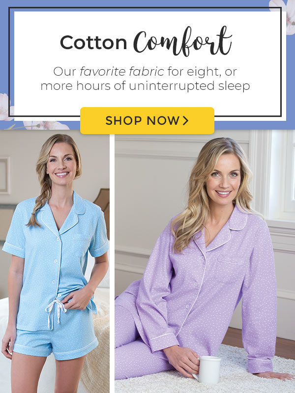 A collage of models wearing different styles of PajamGram Classic Polka Dot pajamas